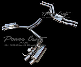 Power Craft Hybrid Exhaust Muffler System with Valves and X-Pipes and Tips (Stainless) for Audi A5 B8