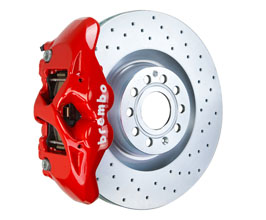 Brembo B-M Brake System - Front 4POT with 345x30mm 1-Piece Drilled Rotors for Audi TT MK3