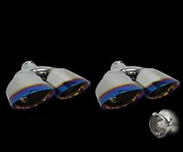 T-Demand TDM Muffler Cutter Exhaust Tips Set - Double Oval (Stainless with Blue)